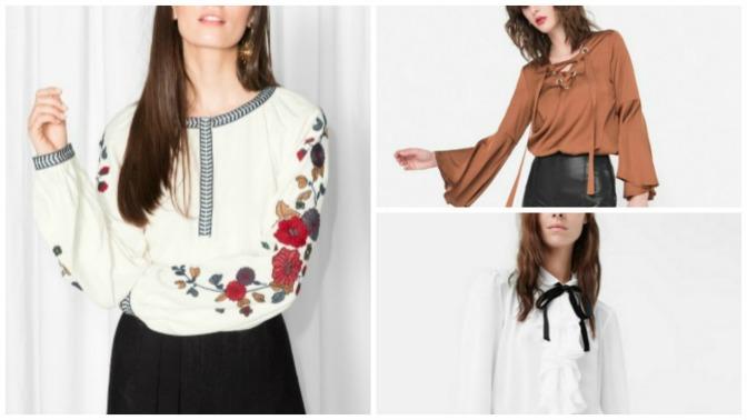 Blusas y camisas con lazos, bordados y volantes tendencia deotoño
