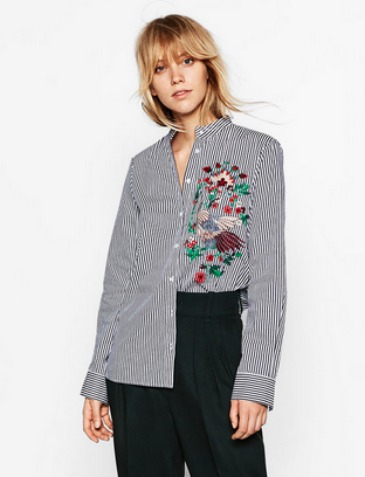 Camisa rayas bordados Zara